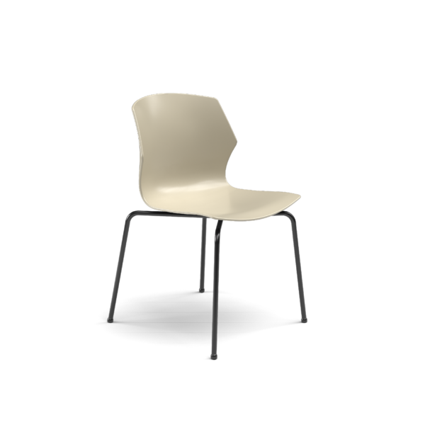 Center Stage Table Height Chair, Sandy Plastic Bucket Seat with Black Weldment