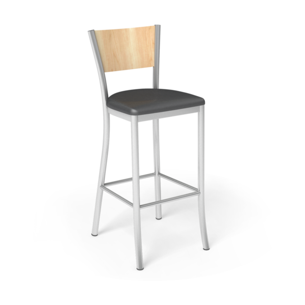 Center Stage Artisan Barstool. Black Vinyl, Sugar Maple, & Silver Weldment