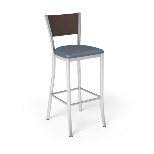 Center Stage Barstool. Walnut Silver