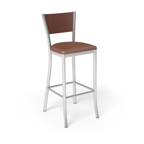 Center Stage Barstool. British Tan Vinyl, Formal Mahogany, & Silver Weldment