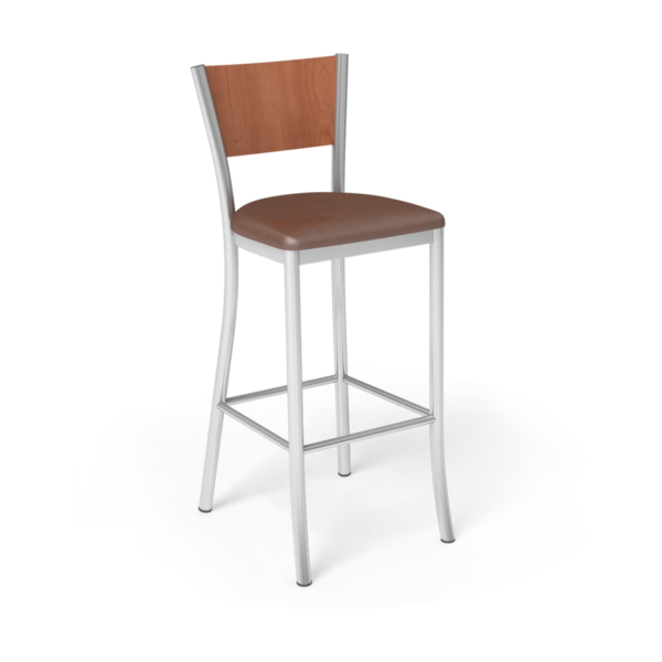 Center Stage Artisan Barstool. Camel Vinyl, Oiled Cherry, & Silver Weldment