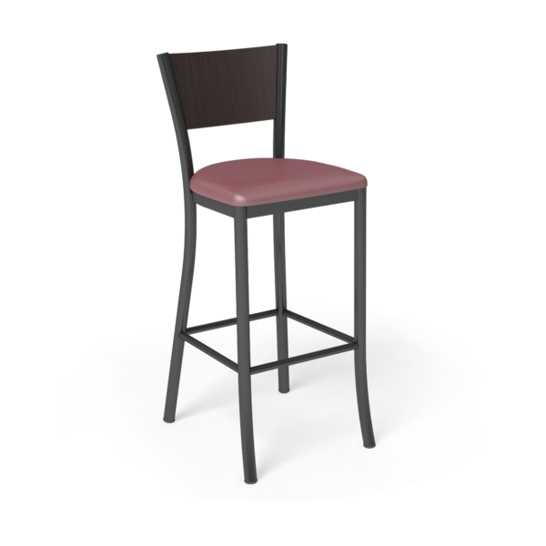 Center Stage Barstool. Dark Cherry Vinyl, Witchcraft, & Black Weldment