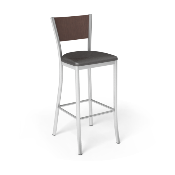 Center Stage Artisan Barstool. Espresso Vinyl, Formal Mahogany, & Silver Weldment
