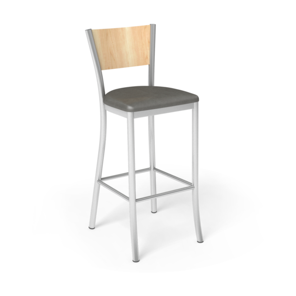 Center Stage Artisan Barstool. Gunmetal Vinyl, Sugar Maple, & Silver Weldment