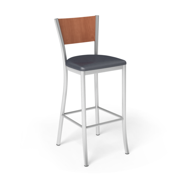 Center Stage Barstool. Artisan Imperial blue Oiled cherry Silver
