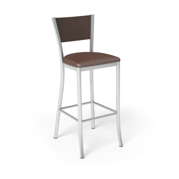 Center Stage Artisan Barstool. Mocha Vinyl, Gunstock Savoy, & Silver Weldment