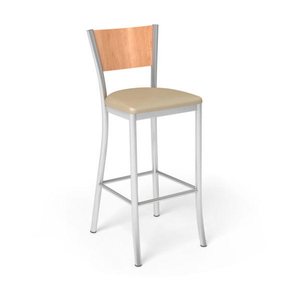 Center Stage Artisan Barstool. Sand Vinyl, Honey Maple, & Silver Weldment