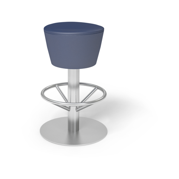 Center Stage Barstool. Ava Royal and Silver Weldment
