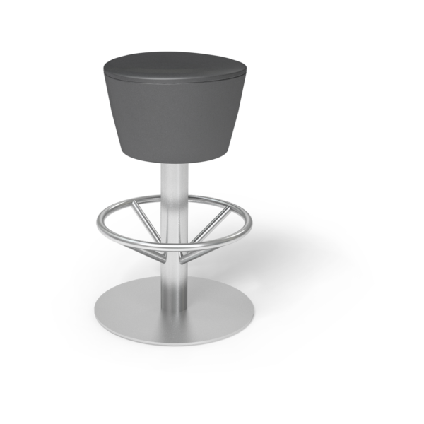 Center Stage Barstool. Ava Black with Silver Weldment
