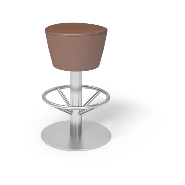 Center Stage Barstool. Ava British Tan with Silver Weldment
