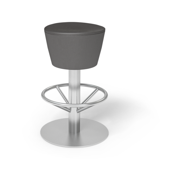 Center Stage Barstool. Ava Espresso with Silver Weldment