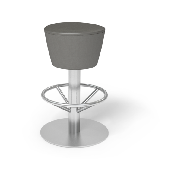 Center Stage Barstool. Ava Gunmetal with Silver Weldment
