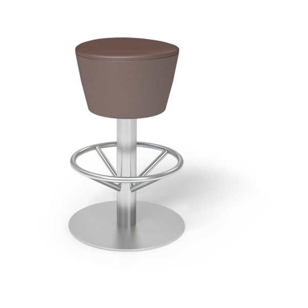 Center Stage Barstool. Ava Mocha with Silver Weldment