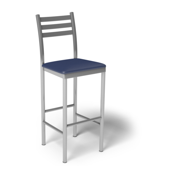 Center Stage Ladder Back Barstool. Royal & Silver Weldment