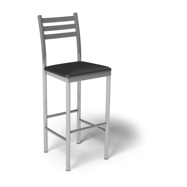 Center Stage Ladder Back Barstool. Black Vinyl & Silver Weldment