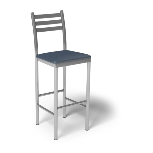 Center Stage Ladder Back Barstool. Blue Ridge Vinyl & Silver Weldment