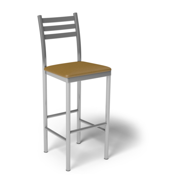 Center Stage Ladder Back Barstool. Camel Vinyl & Silver Weldment