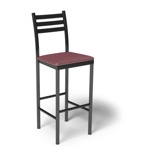 Center Stage Ladder Back Barstool. Dark Cherry Vinyl & Black Weldment