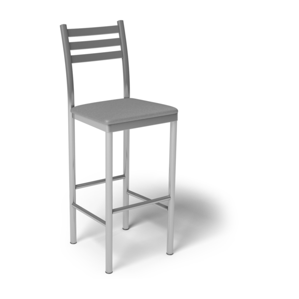 Center Stage Ladder Back Barstool. Dove Vinyl & Silver Weldment