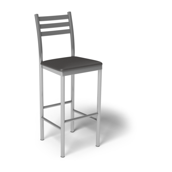 Center Stage Ladder Back Barstool. Espresso Vinyl & Silver Weldment