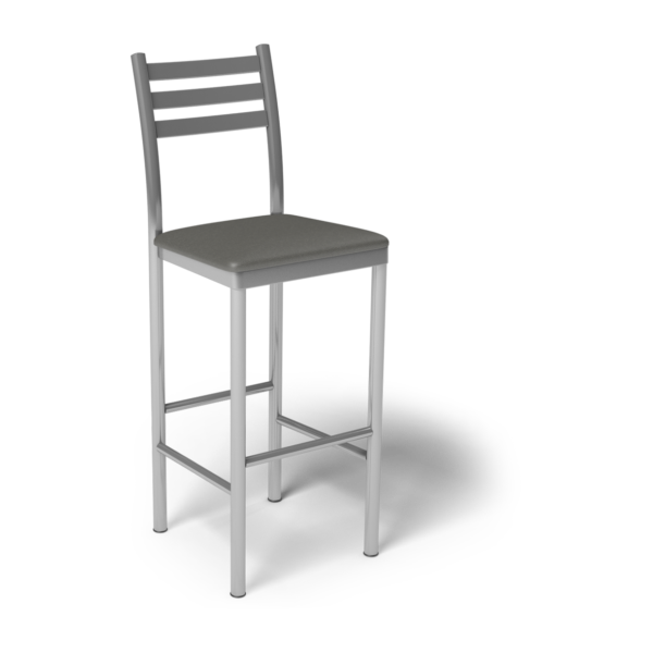 Center Stage Ladder Back Barstool. Gunmetal Vinyl & Silver Weldment