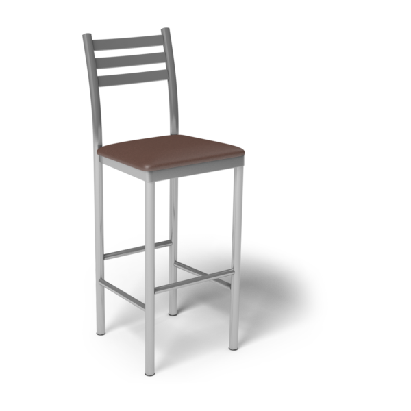 Center Stage Ladder Back Barstool. Mocha Vinyl & Silver Weldment