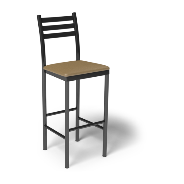 Center Stage Ladder Back Barstool. Oak Vinyl &  Silver Weldment