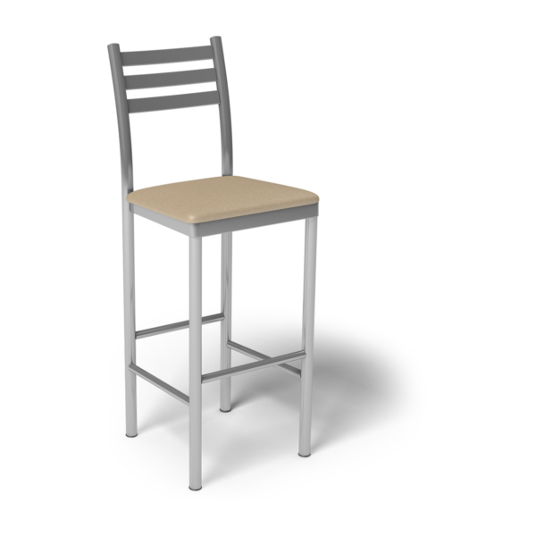 Center Stage Ladder Back Barstool. Sand Vinyl & Silver Weldment