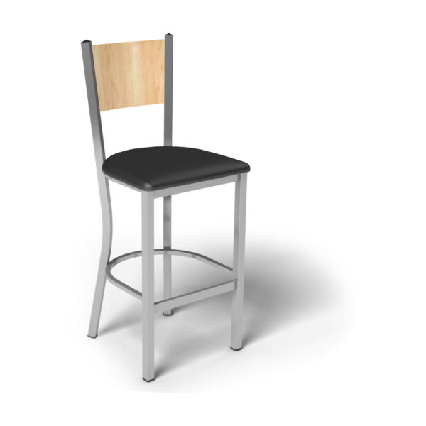 Center Stage Mama Melissa Barstool. Black Vinyl, Sugar Maple, & Silver Weldment