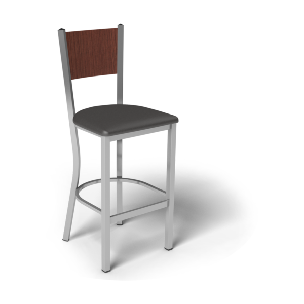 Center Stage Mama Melissa Barstool. Espresso Vinyl, Formal Mahogany, & Silver Weldment