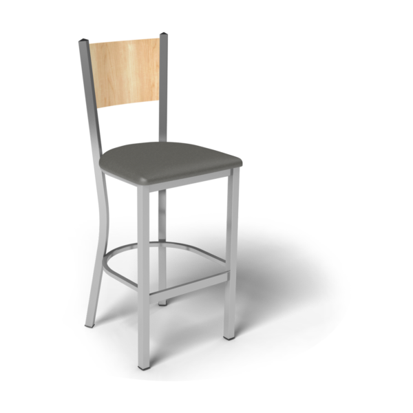 Center Stage Mama Melissa Barstool. Gunmetal Vinyl, Sugar Maple, & Silver Weldment