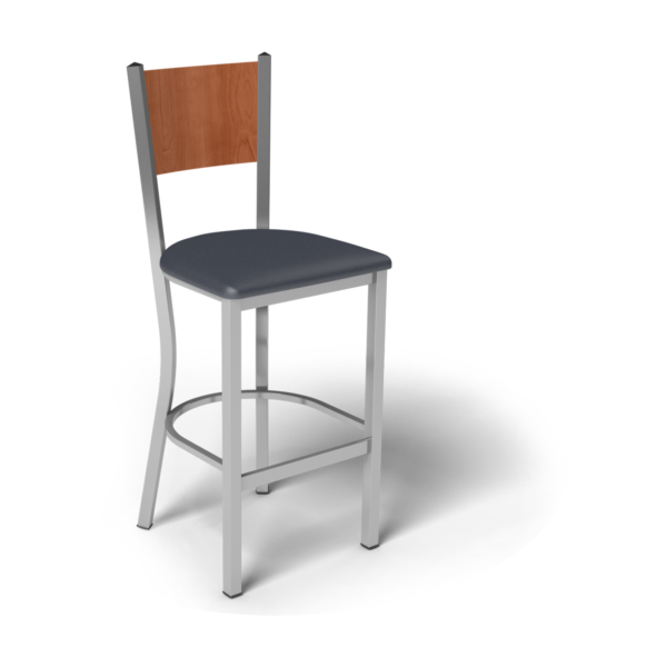 Center Stage Mama Melissa Barstool. Imperial Blue Vinyl, Oiled Cherry, & Silver Weldment