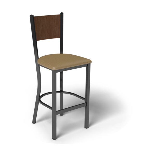 Center Stage Mama Melissa Barstool. Oak Vinyl, Gunstock Savoy & Black Weldment