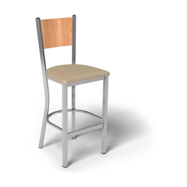 Center Stage Mama Melissa Barstool. Sand Vinyl, Honey Maple, & Silver Weldment
