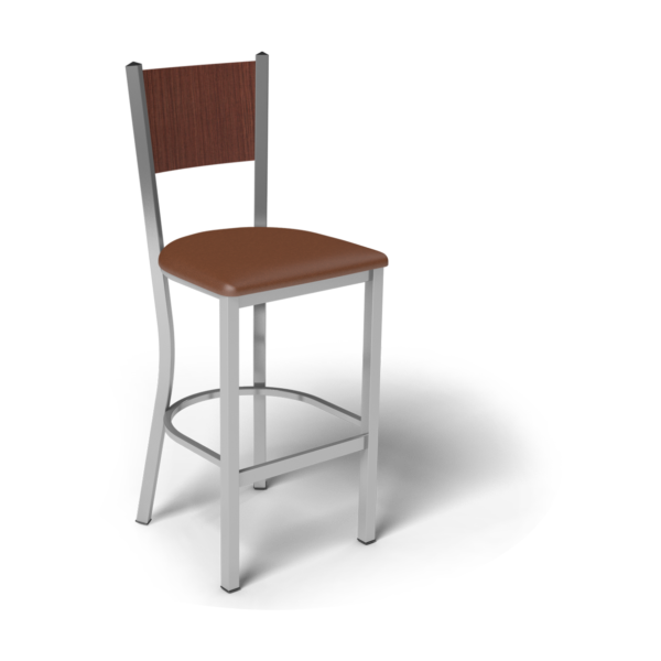Center Stage Mama Melissa Barstool. British Tan Vinyl, Formal Mahogany, & Silver Weldment