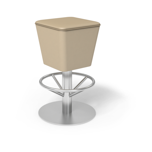Center Stage Barstool Mia. Sand Vinyl & Silver Weldment