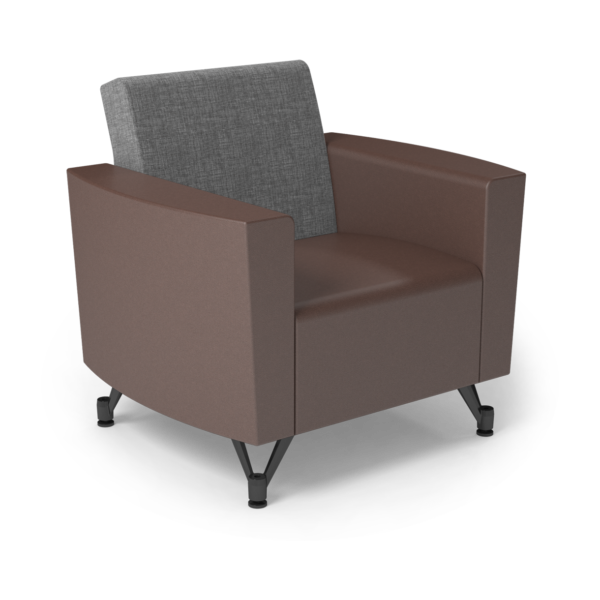 Center Stage Chair. Cover Cloth Vesper & Mocha Vinyl