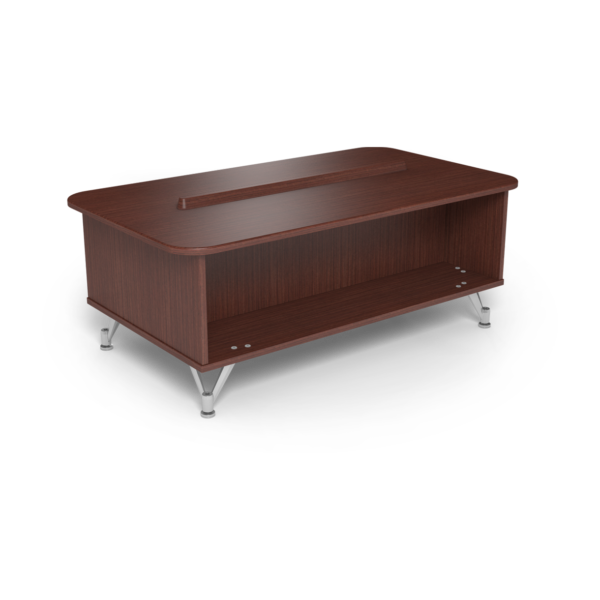 Center Stage Rounded Corner Coffee Table. Formal Mahogany & Silver Weldment
