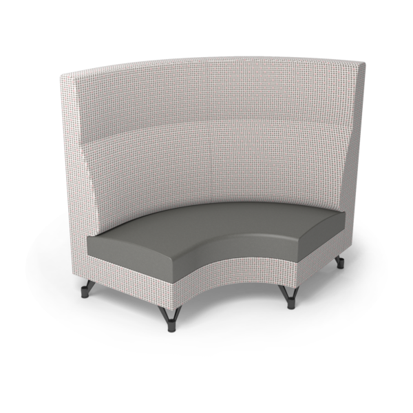 Center Stage Corner Left Highback. Knack Glaze & Gunmetal Vinyl