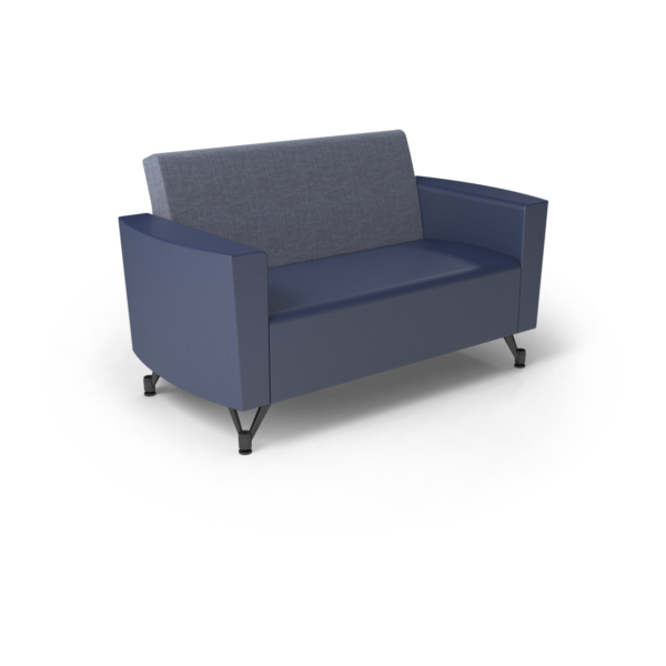 Center Stage Loveseat. Cover Cloth Delft & Royal Vinyl