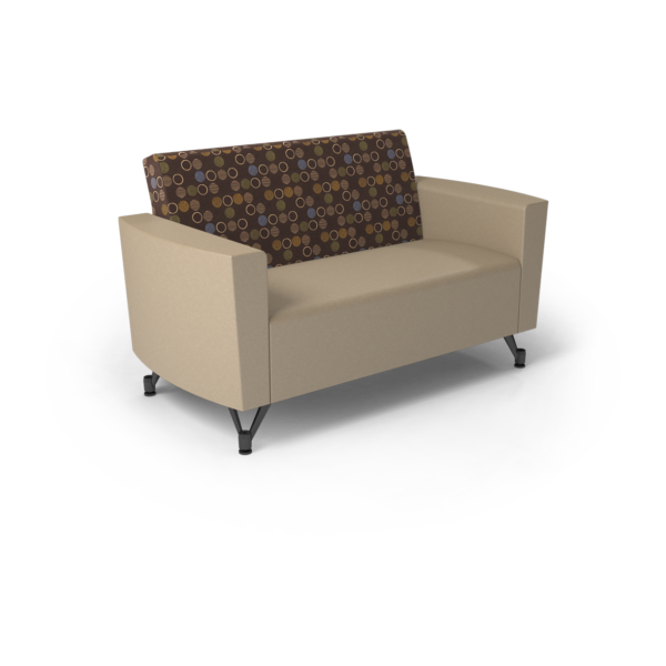 Center Stage Loveseat. Amuse Mocha & Sand Vinyl
