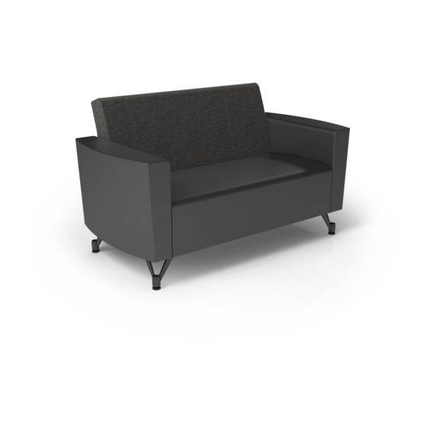 Center Stage Loveseat. Cover Cloth Taiga & Black Vinyl
