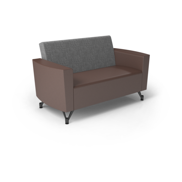 Center Stage Loveseat. Cover Cloth Vesper & Mocha Vinyl