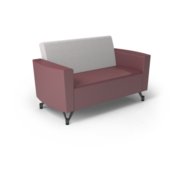 Center Stage Loveseat. Habit Salt & Dark Cherry Vinyl