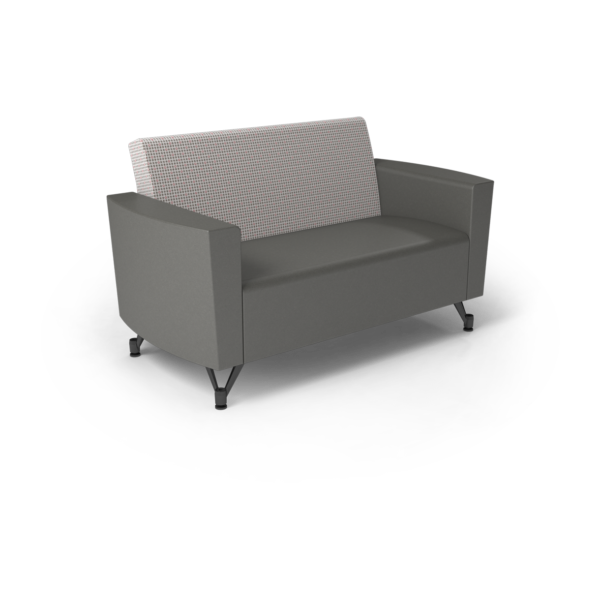 Center Stage Loveseat. Knack Glaze & Gunmetal Vinyl