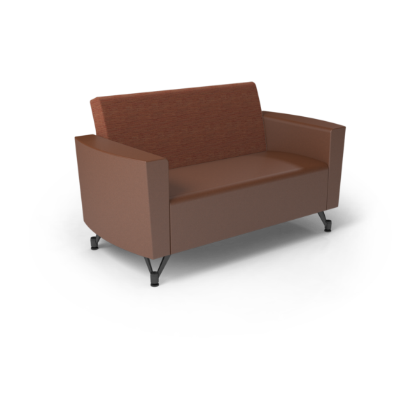 Center Stage Loveseat. Synergy Tango & British Tan Vinyl