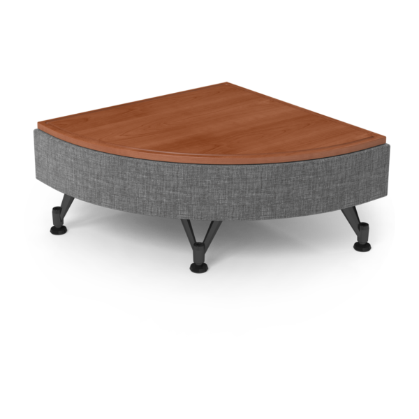 Center Stage Quarter Moon Table. Cover Cloth Vesper & Oiled Cherry.