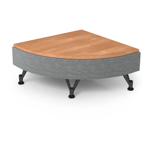 Center Stage Quarter Moon Table. Synergy Aegean & Honey Maple
