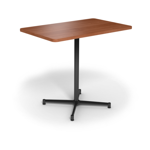 Center Stage, bar height, rectangular table. Oiled cherry & black weldment