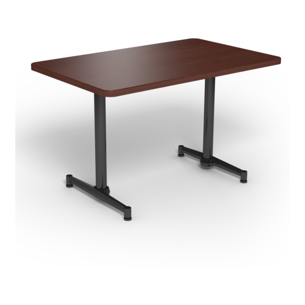 Center Stage, table-height, rectangular table. Formal mahogany & black weldment.